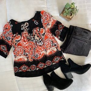 LOFT Red and Black Paisley Blouse